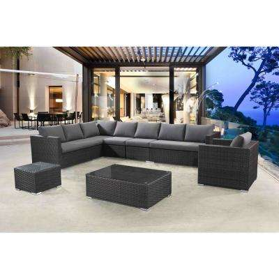 Generoso 7-Piece All-Weather Charcoal Wicker Patio Sectional Set with Gray Cushions