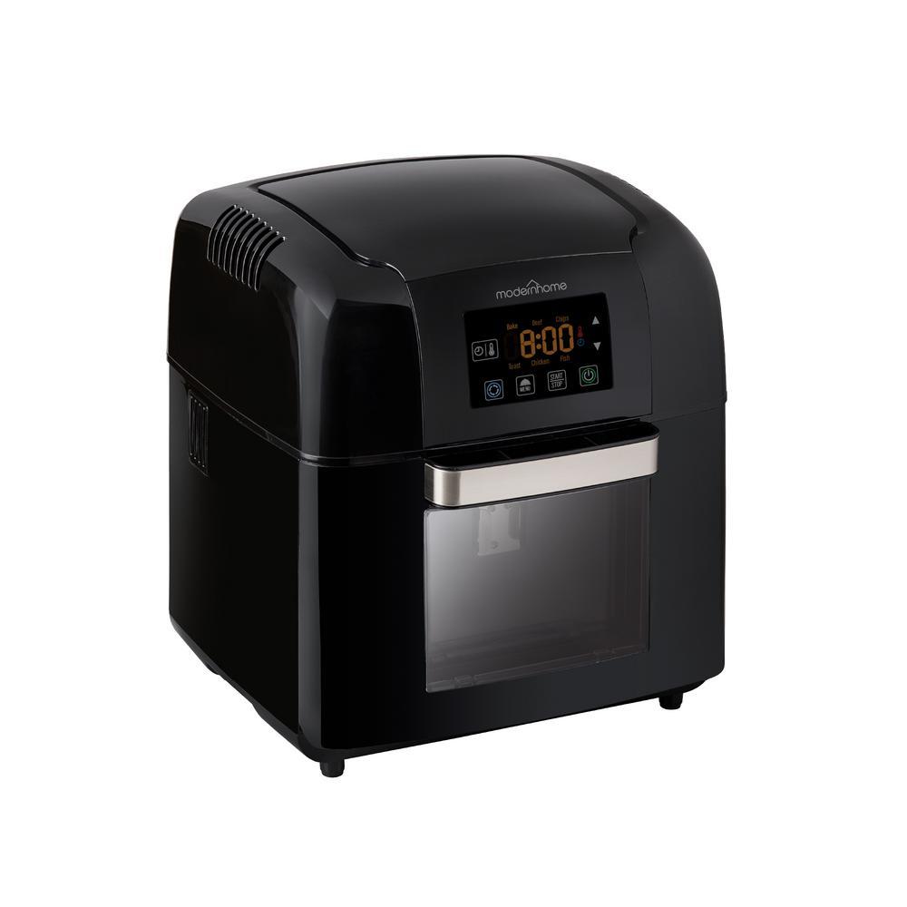 Premium 10 Qt. Black Digital Air Fryer Oven with Rotating Rotisserie, Multiple Racks, and Recipe Book