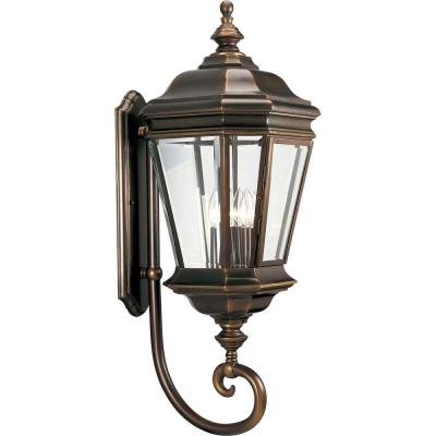 Crawford 4-Light Oil Rubbed Bronze 32.75 in. Outdoor Wall Lantern Sconce