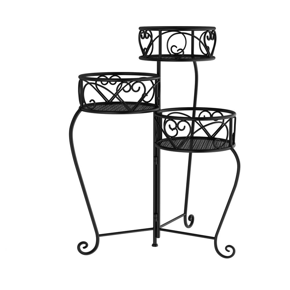 Pure Garden 3 Tier Black Metal Decorative Folding Plant Stand Display With Laser Cut Shelves Hw1500183 The Home Depot