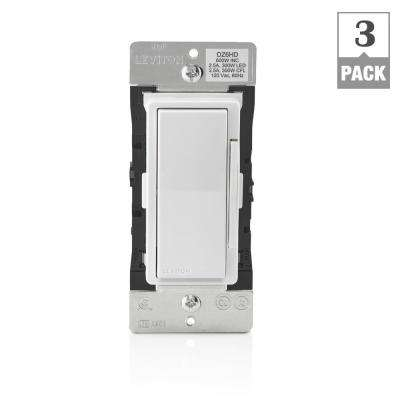 Decora Smart with Z-Wave Technology 600-Watt Dimmer, White/Light Almond (3-Pack)