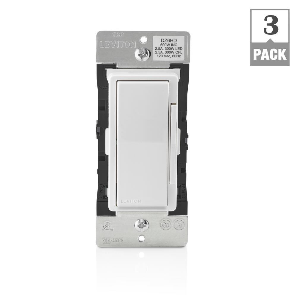 Decora Smart with Z-Wave Technology 600-Watt Dimmer, White/Light Almond (3-Pack)
