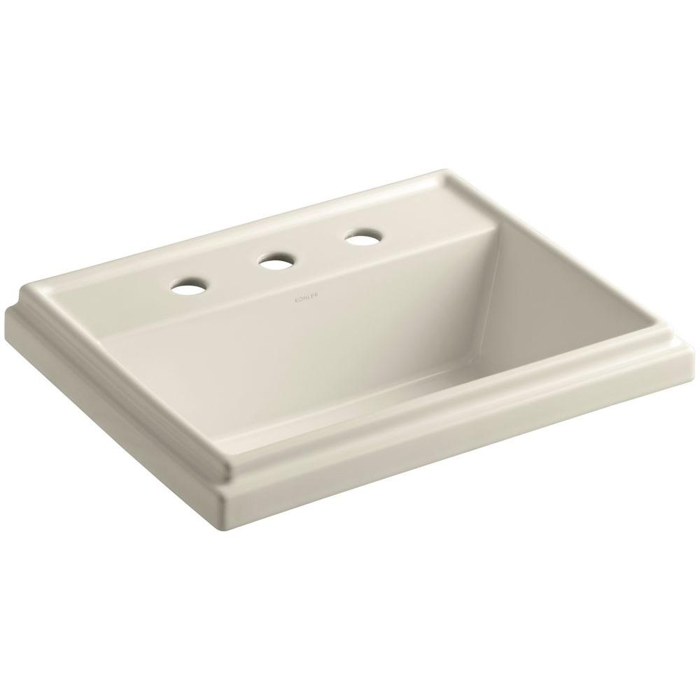 Tresham Drop-In Vitreous China Bathroom Sink in Almond with Overflow Drain