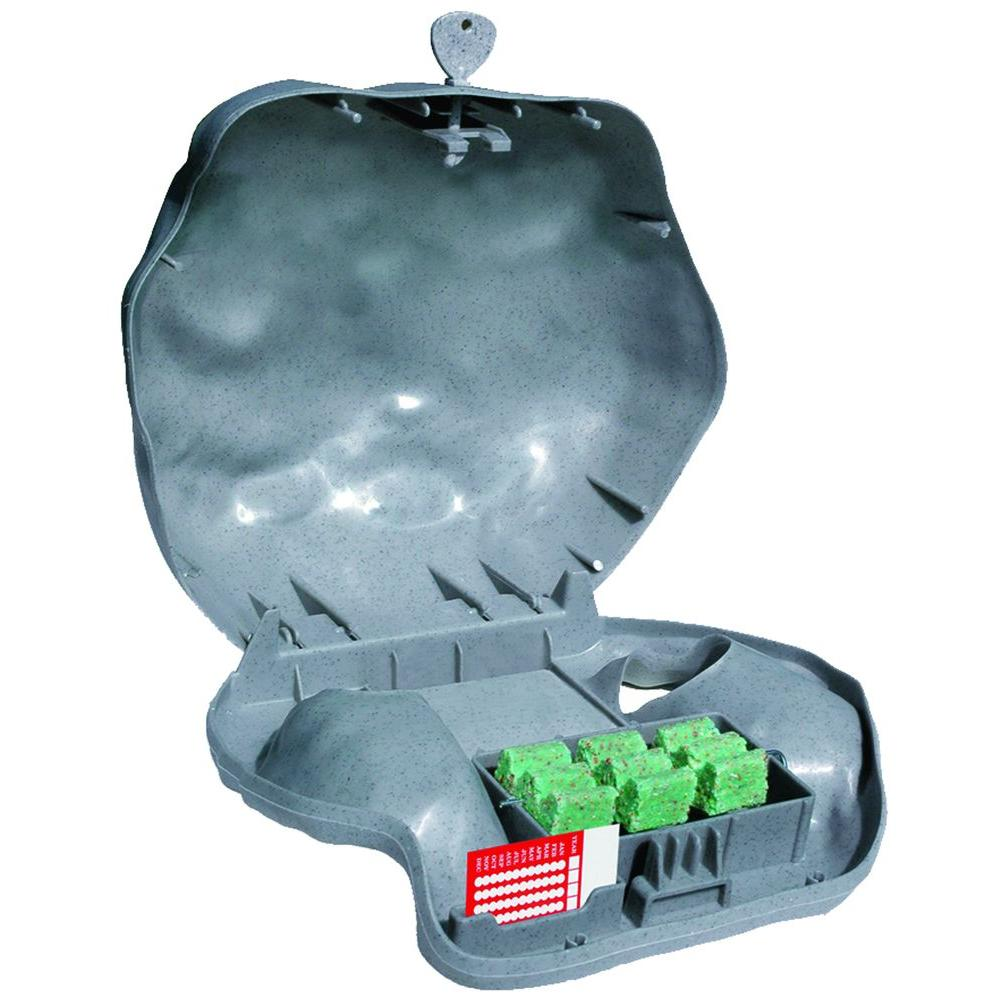 Rodent Landscape Slate Rock Bait Station with Solid Lid for Mice