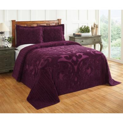 Ashton 102 in. x 110 in. Plum Queen Bedspread
