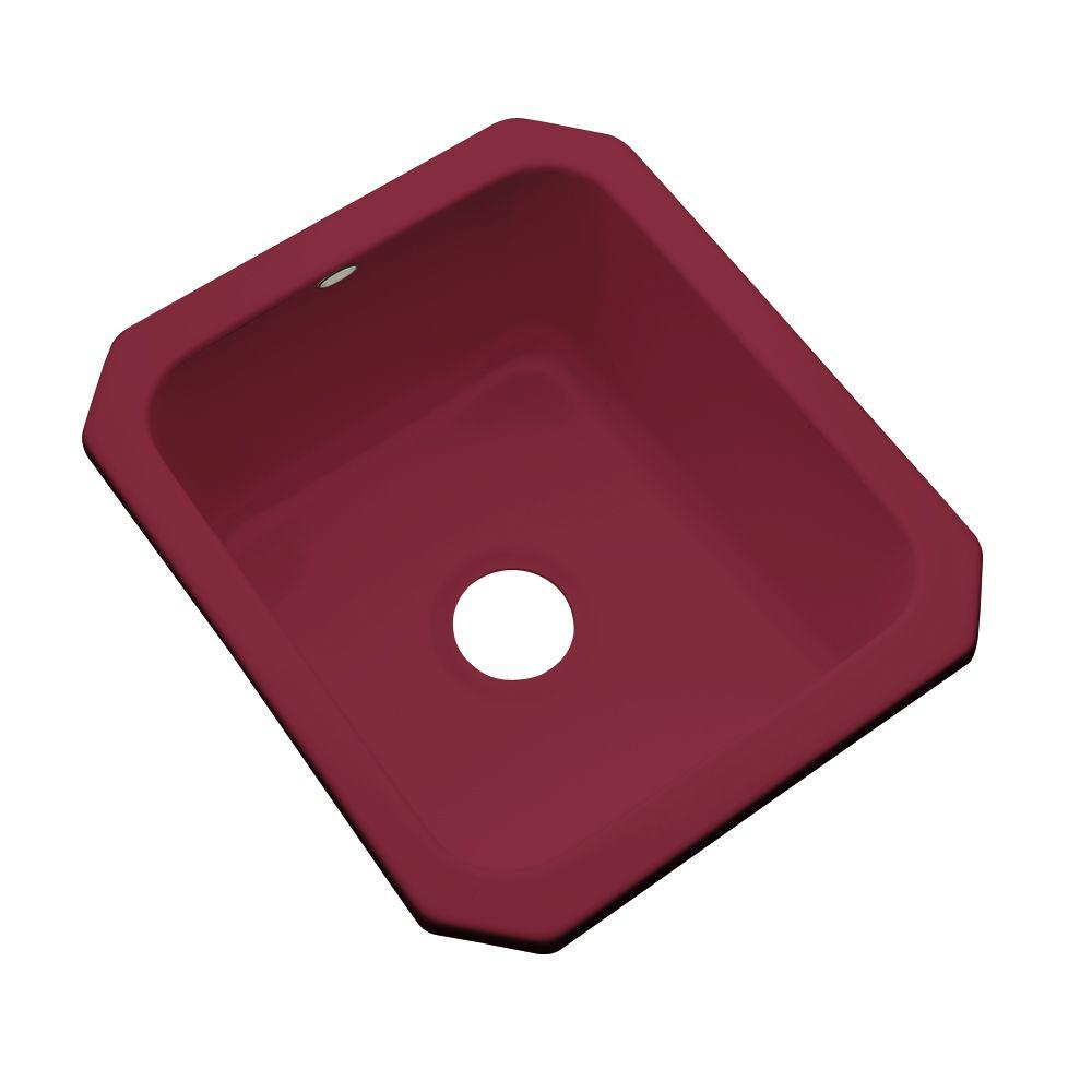 Thermocast Crisfield Undermount Acrylic 17 in. Single Basin Entertainment Sink in Ruby