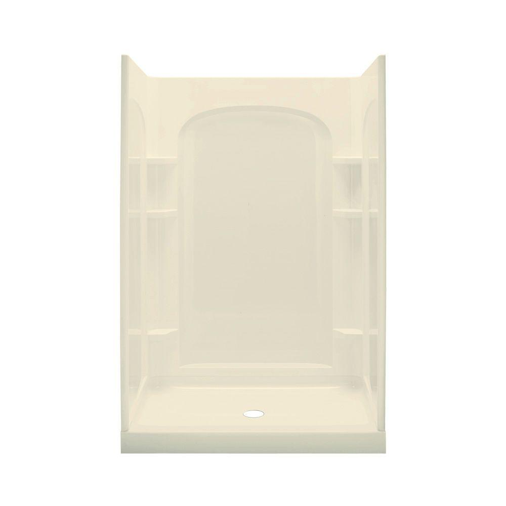 STERLING Ensemble 34 in. x 48 in. x 75-3/4 in. Shower Kit with Age in Place Backers in Almond-DISCONTINUED