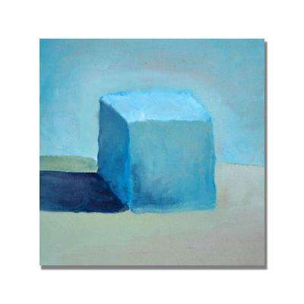 24 in. x 24 in. Blue Cube Still Life Canvas Art