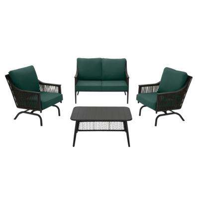 Bayhurst 4-Piece Black Wicker Outdoor Patio Conversation Seating Set with CushionGuard Charleston Blue-Green Cushions