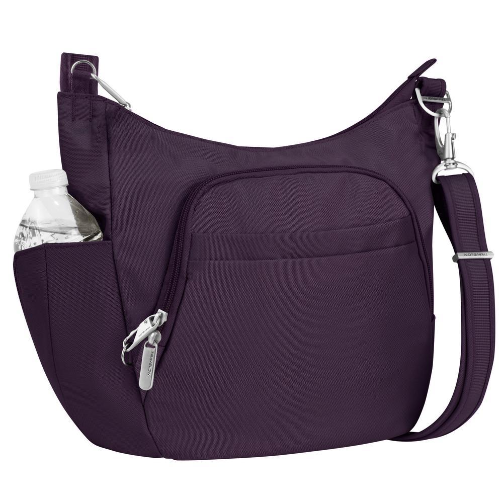 Anti-Theft Purple Poly Crossbody Bucket Tote Bag
