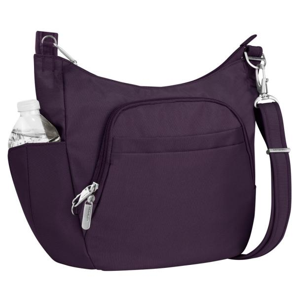 0ab71966d Travelon Anti-Theft Purple Poly Crossbody Bucket Tote Bag 42757-150 ...