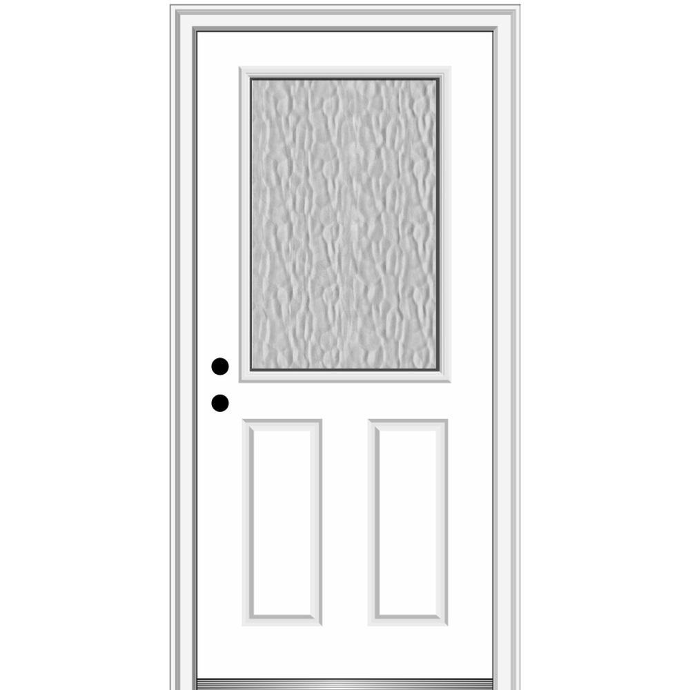 Mmi Door Vapor 32 In X 80 In Right Hand Inswing 1 2 Lite 2 Panel Primed Fiberglass Prehung Front Door With 4 9 16 In Frame Z0372931r The Home Depot