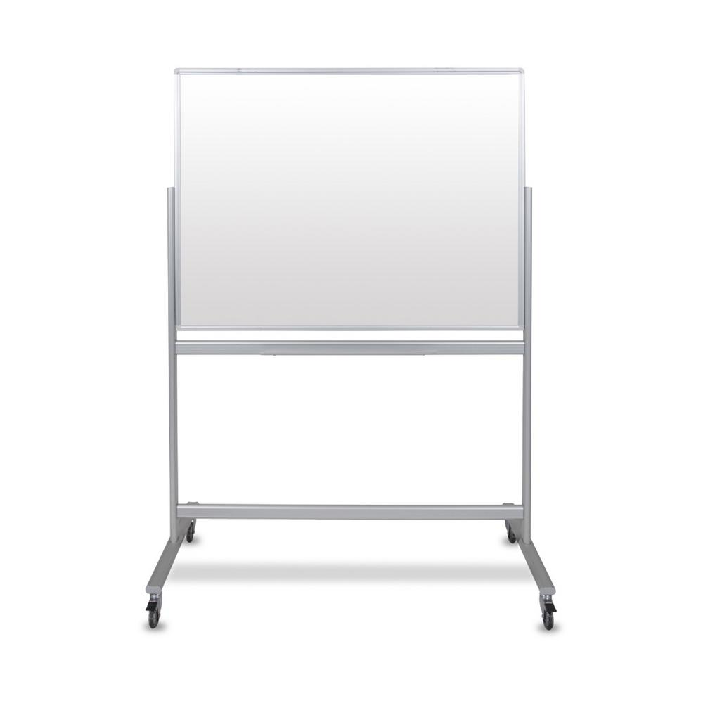 luxor Mobile Magnetic Double Sided Glass Board, White