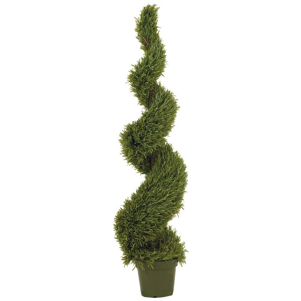 Nearly Natural 5 ft. Rosemary Spiral Silk Tree, Green