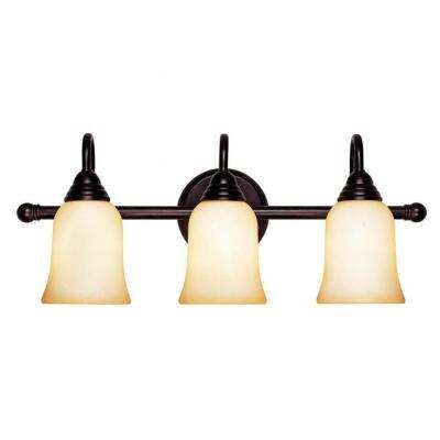 Benefic 3-Light English Bronze Bath Vanity Light