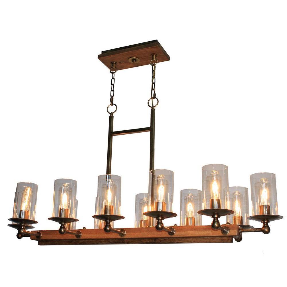 12-Light Burnished Brass Billiard Light