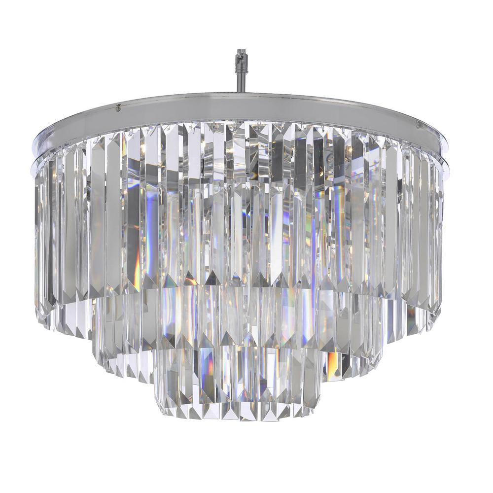 Palladium 9-Light Chrome Crystal Glass Fringe Modern Chandelier