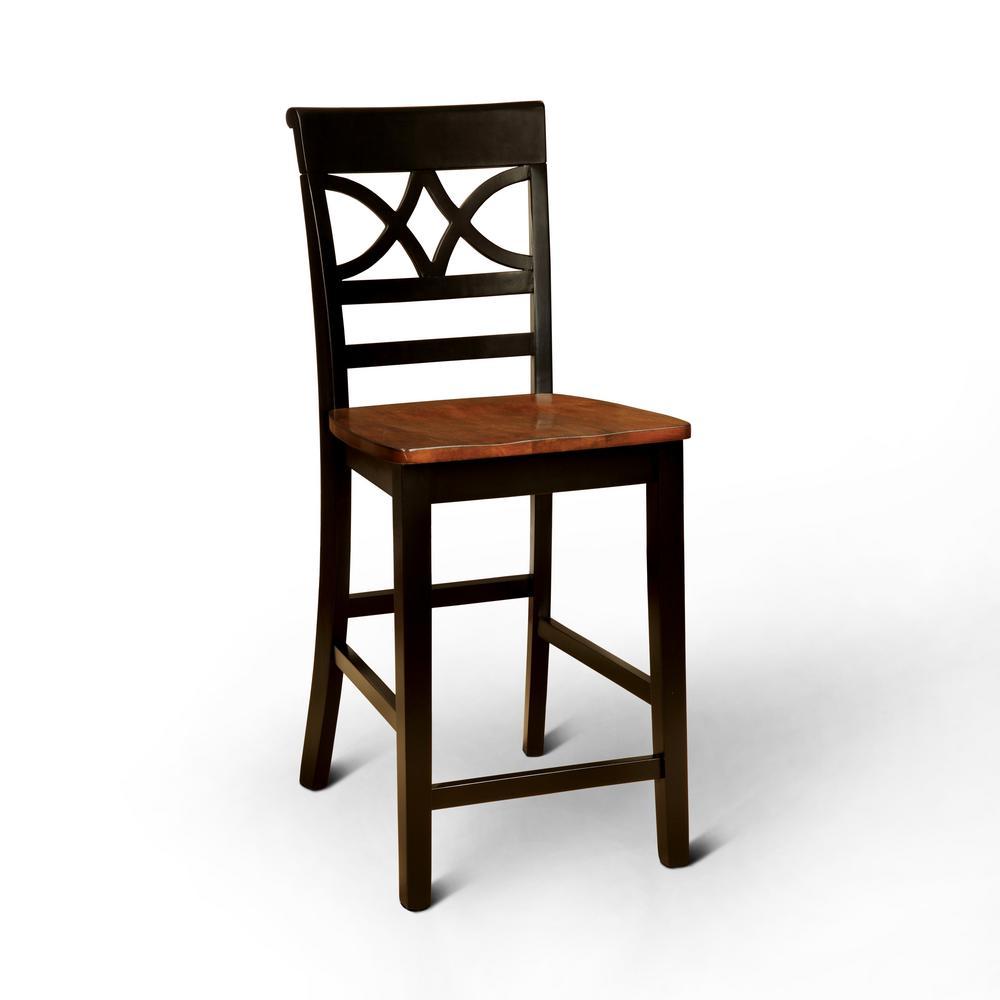 Logan 41 in. Black Wood Pub Chair (Set of 2)