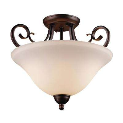 Laredo II 2-Light Antique Bronze Semi-Flushmount