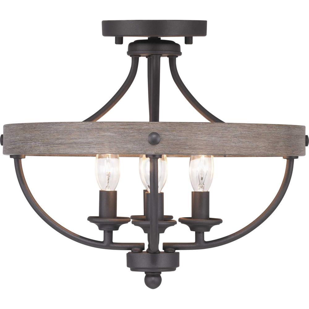 Progress Lighting Gulliver Collection 4 Light Graphite Semi Flush Mount