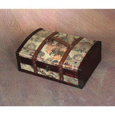 14 in. x 10 in. x 5 in. Old World Map Treasure Chest - 14 in. with Top Handle