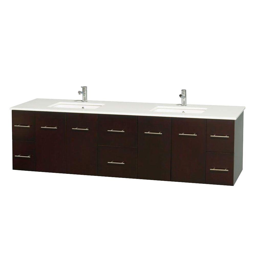 Wyndham Collection Centra 80 in. Double Vanity in Espresso with Solid-Surface Vanity Top in White and Under-Mount Sinks