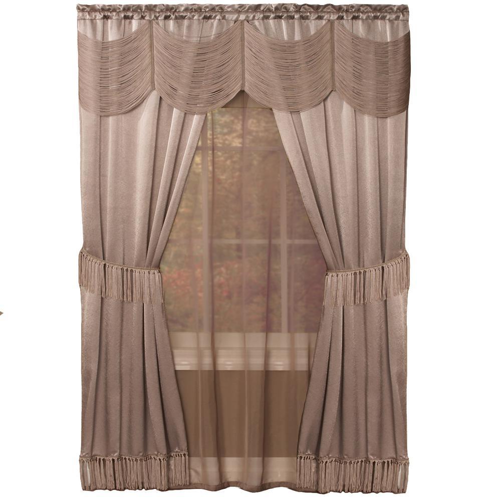 Achim Sheer Halley Mauve (Pink) Window Curtain Set - 56 i...