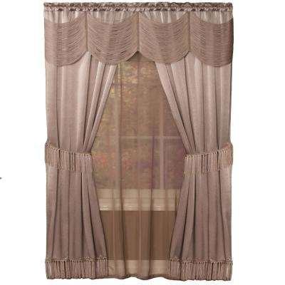 Sheer Halley Mauve Window Curtain Set - 56 in. W x 84 in. L