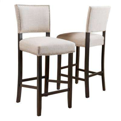 Mayfield 44.5 in. Dark Beige Cushioned Bar Stool (Set of 2)