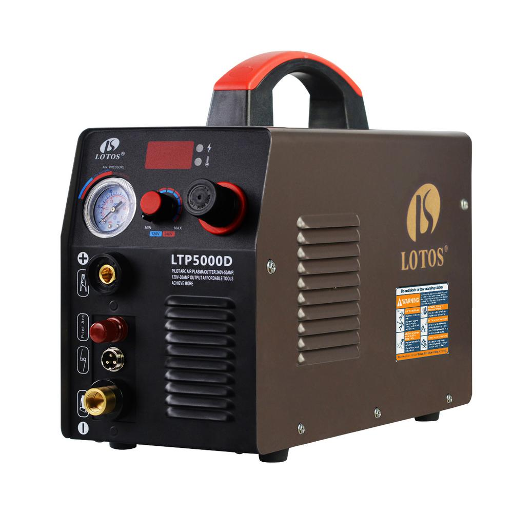 Lotos 50 Amp Non-Touch Pilot Arc Inverter Plasma Cutter for Metal, Dual Voltage 110V/220V, 1/2 in. Clean Cut