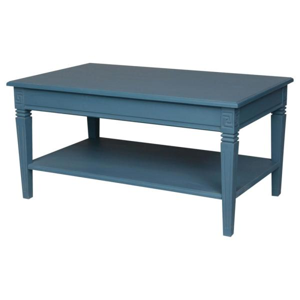 Antique Coffee Table.Ashbury Arte Antique Blue Oak Veneer Coffee Table