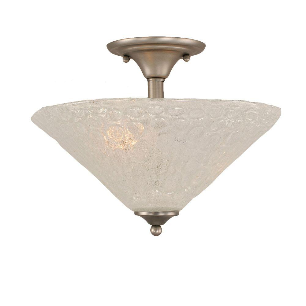 Concord 2-Light Brushed Nickel Incandescent Ceiling Semi-Flush Mount Light