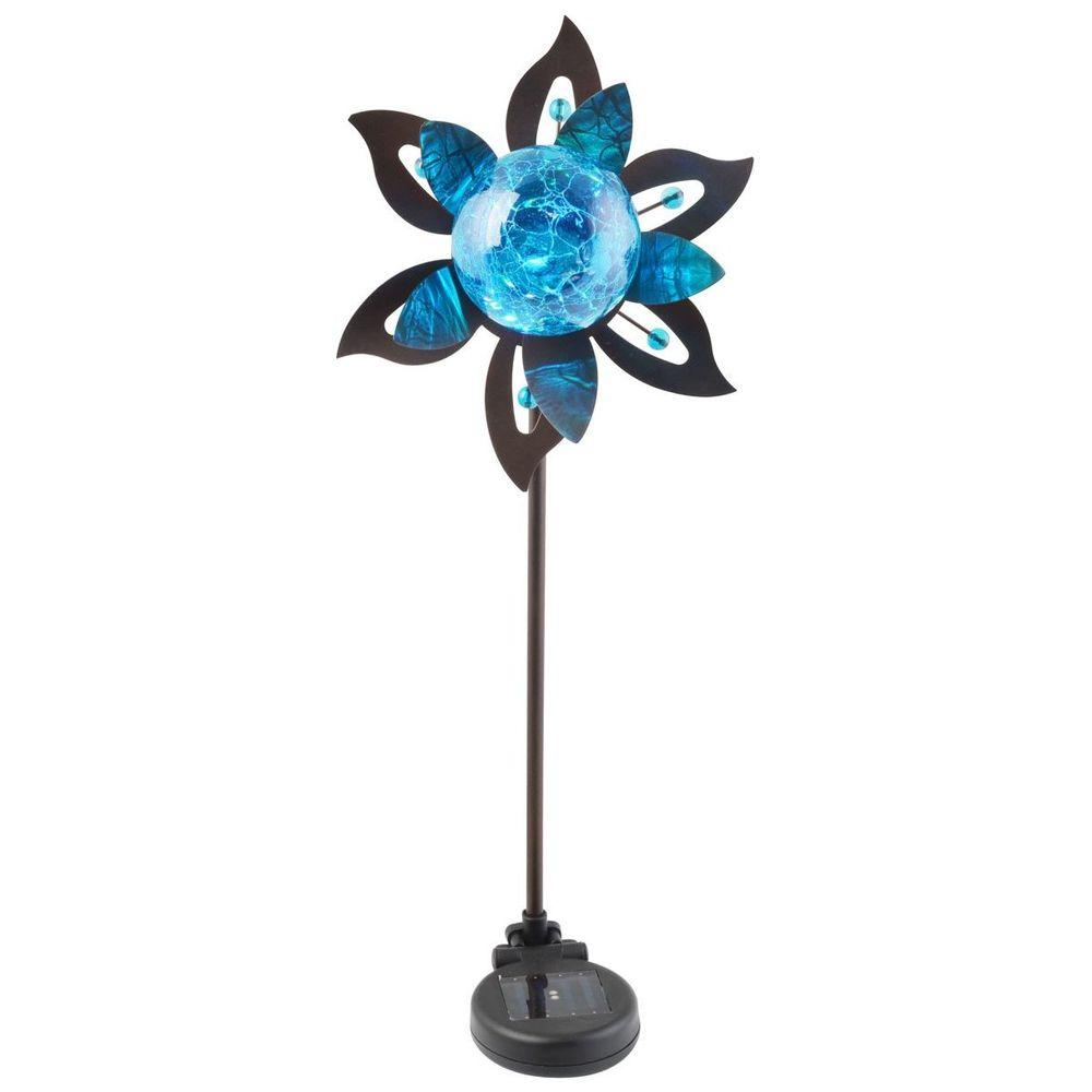 Moonrays Outdoor Bright Blue Solar Powered Color-Changing LED Flower Stake Light-DISCONTINUED