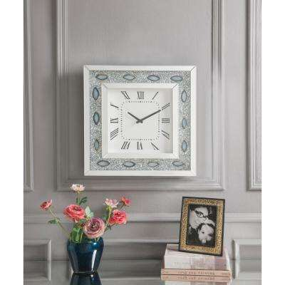 Sonia Mirrored and Faux Agate Wall Clock