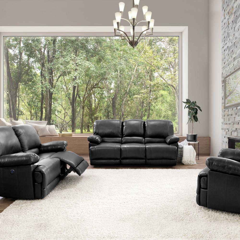 3pc Plush Power Reclining Black Bonded Leather Sofa Set with USB Ports