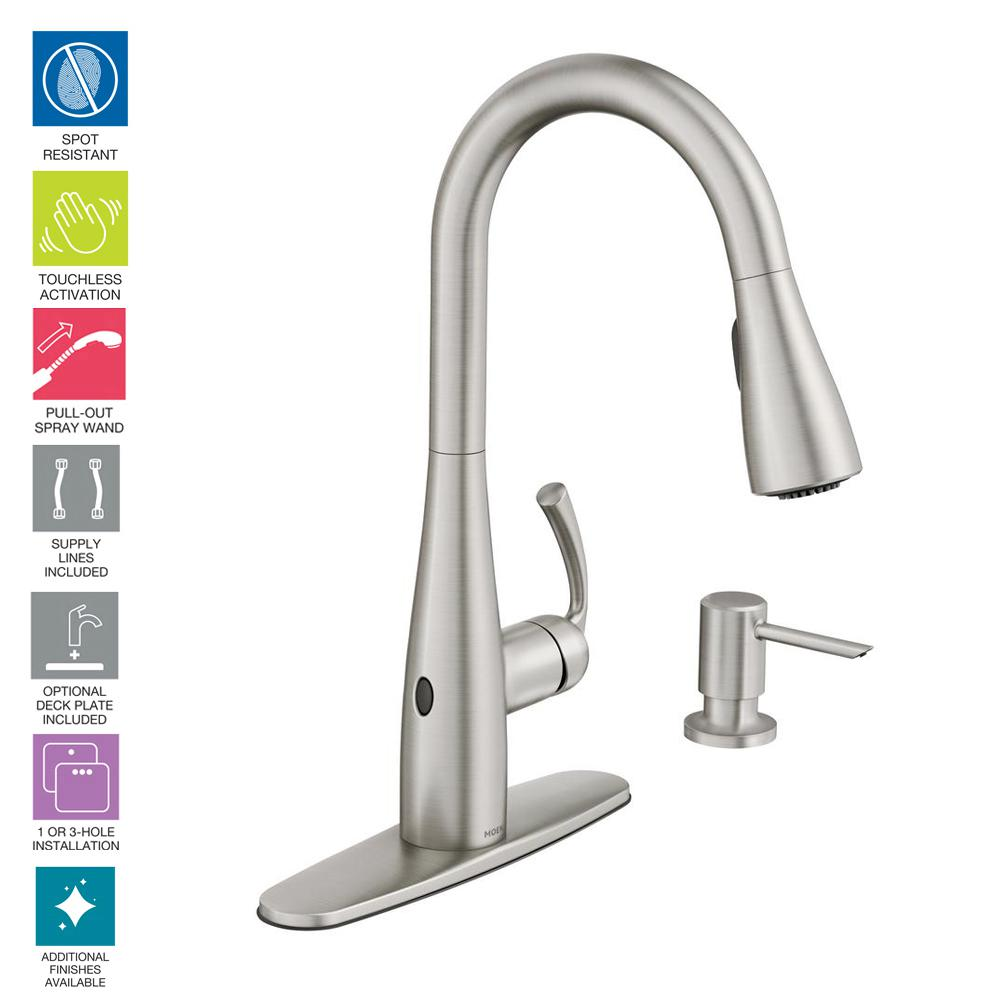 Moen Essie Touchless Single Handle Pull Down Sprayer Kitchen Faucet