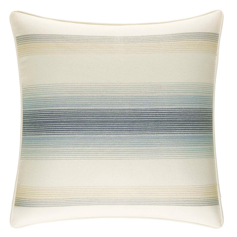 La Prisma Stripe Embellished 16 in. x 16 in. Throw Pillow, Medium Blue The Tommy Bahama La Prisma Stripe Throw Pillow adds instant relaxation and style to your sleep space. Supremely soft in pure cotton, the beautiful blue and white ombr stripes create a cool and refreshing look reminiscent of ocean waves. Dimensions: (16 in. x 16 in.). Color: Medium Blue.