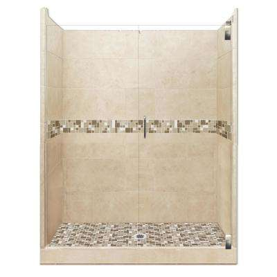 Tuscany Grand Hinged 36 in. x 42 in. x 80 in. Center Drain Alcove Shower Kit in Brown Sugar and Satin Nickel Hardware