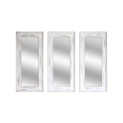 Murray 35 in. Distressed White Wall Mirror (Set of 3)