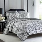 Amberley 3-Piece Black/White Floral Cotton Full/Queen Quilt Set