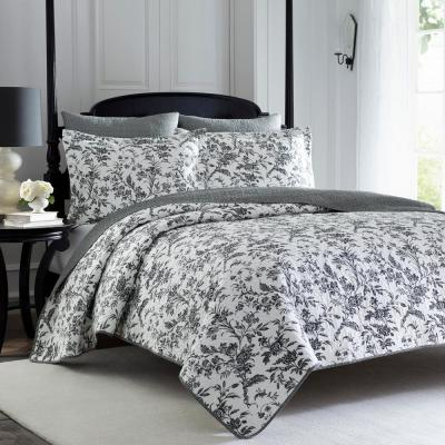 Amberley 3-Piece Black/White Floral Cotton King Quilt Set