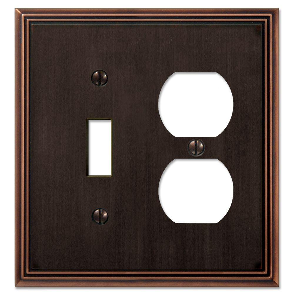 Creative Accents Metro Line 1 Toggle Switch 1 Duplex Wall Plate - Antique Bronze