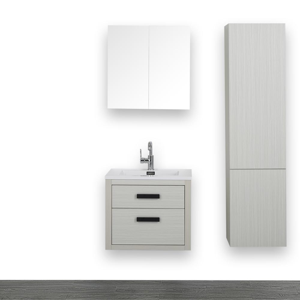 Streamline 23.6 in. W x 19.3 in. H Bath Vanity in Ash Gray with Resin Vanity Top in White with White Basin and Mirror
