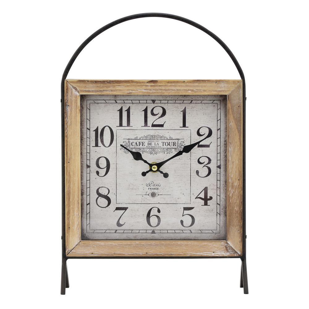 13.5 in. Brown Metal/Wood Frame Table Clock