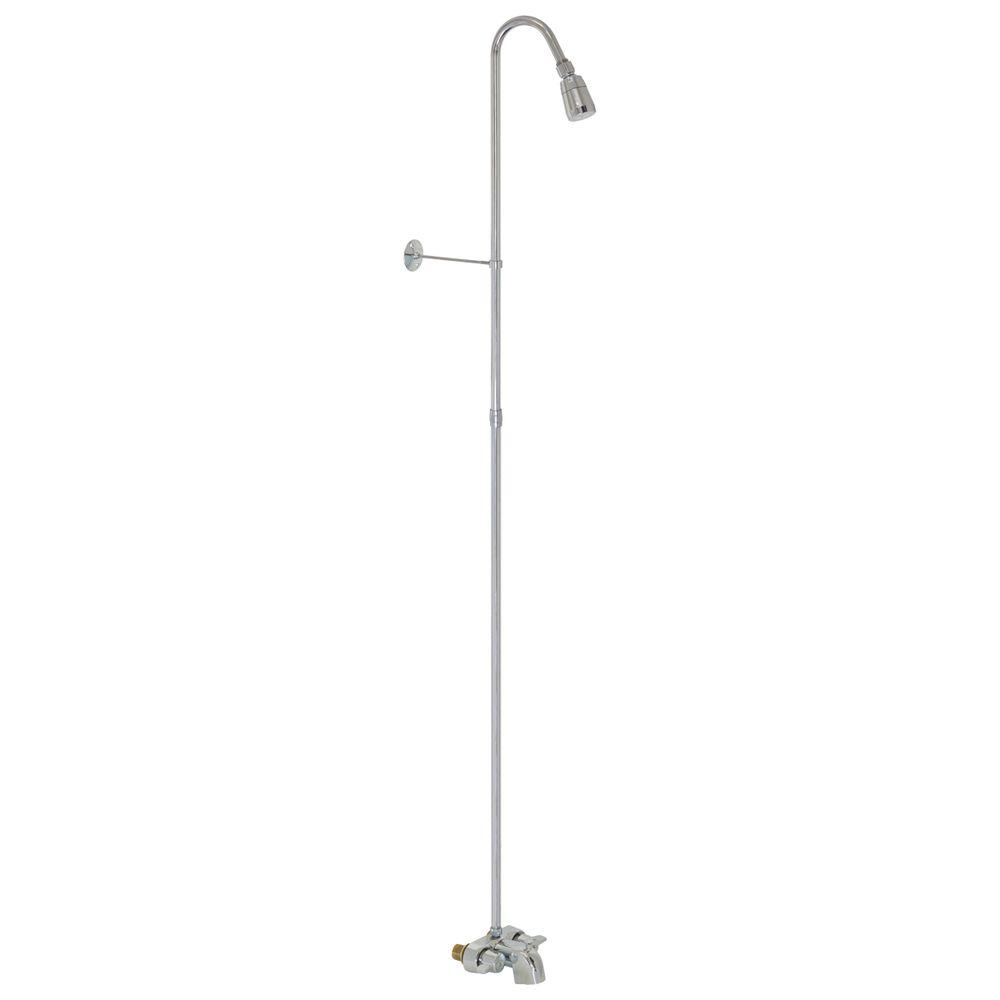 EZ-FLO 3/8 in. Bathcock Type 61-1/4 in. Add-On Shower Riser with Showerhead in Chrome
