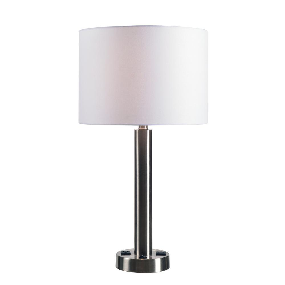 Kenroy home hemlock 26 in brushed steel table lamp with white drum brushed steel table lamp with white drum shade aloadofball Choice Image