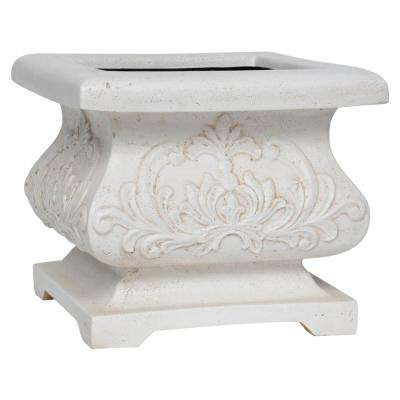 18 in. sq. Aged White Cast Stone Bombe Planter