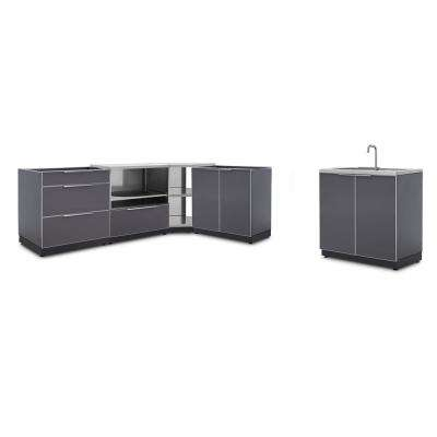 Slate Gray 5-Piece 112.38 in. W x 36.5 in. H x 24 in. D Outdoor Kitchen Cabinet Set without Countertops