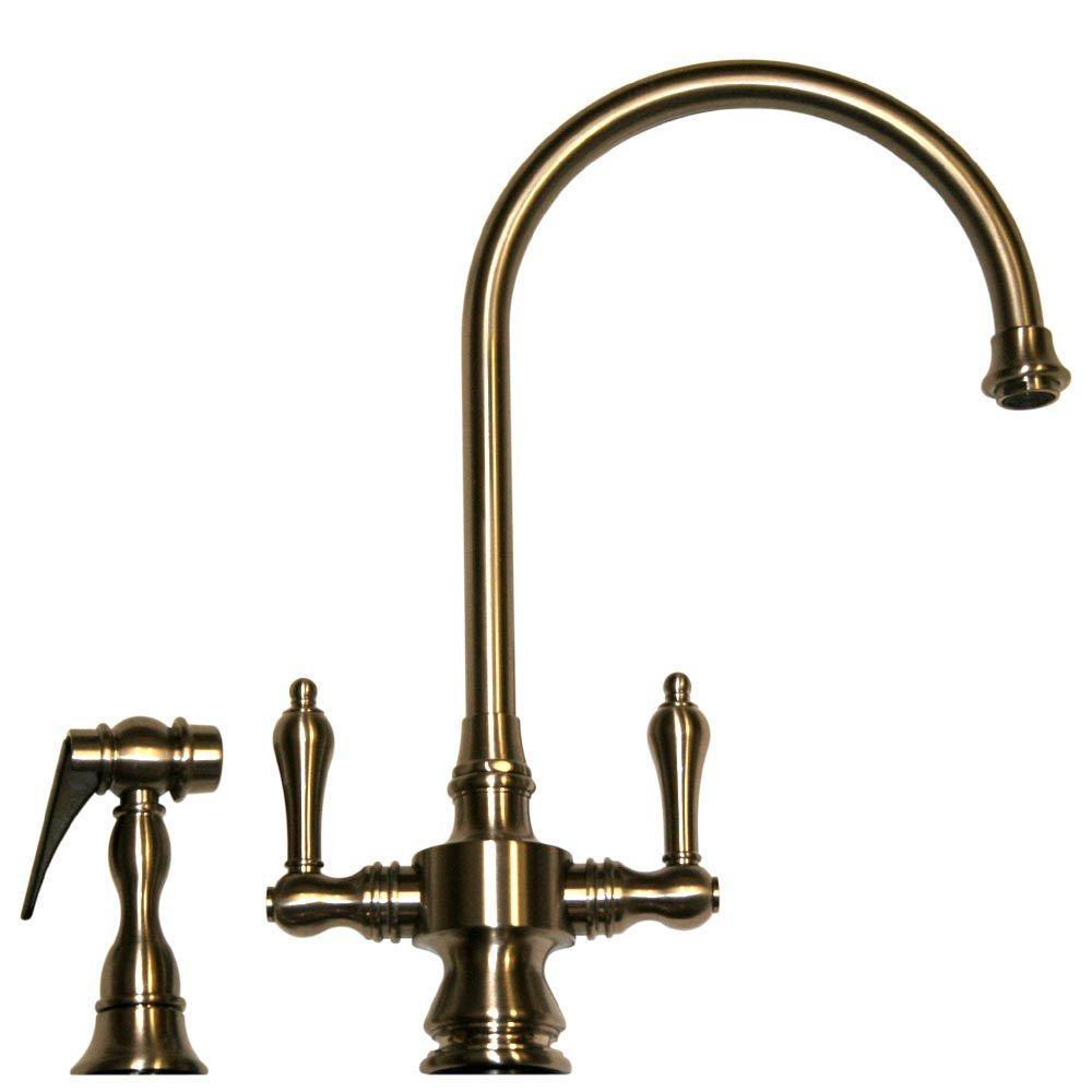 Whitehaus Collection Vintage III 2-Handle Side Sprayer Kitchen Faucet in Pewter
