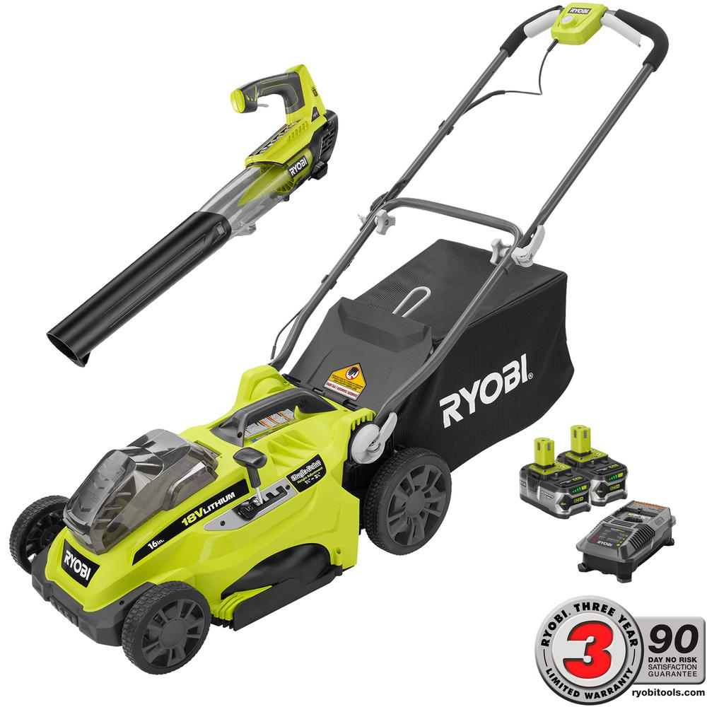 RYOBI ONE+ Lithium+ 16 in. 18-Volt Cordless Lawn Mower/Jet Fan Blower Combo Kit - Two 4.0 Ah Batteries and Charger Included